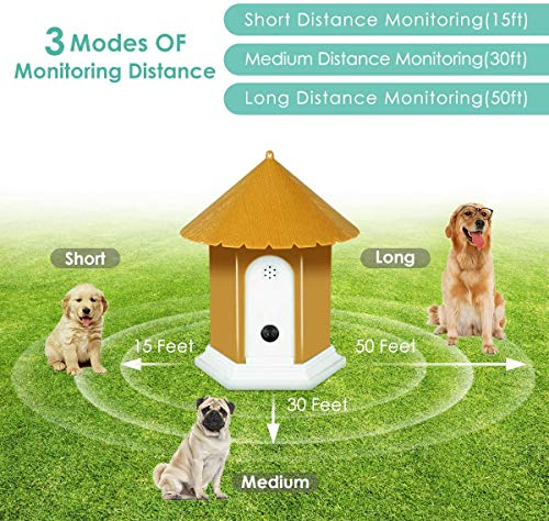 RIVENNA Anti Barking Device, Ultrasonic Anti Barking, Sonic Bark Deterrents, 2020 New Bark Control Device with Adjustable Ultrasonic Level Control