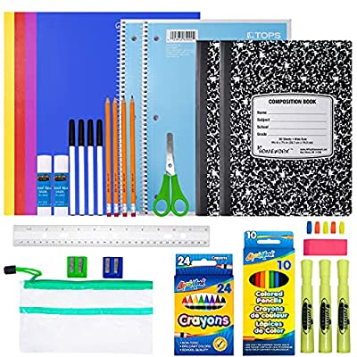 School Supplies for Kids, Back to School Supply Box, Supplies for Girls Or Boys, Supplies Bundle Kit (34 Supplies) by VEEBOOST