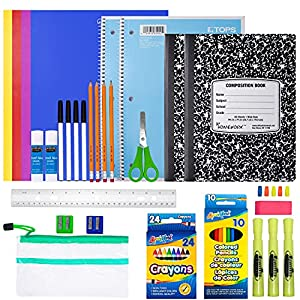 GREAT VARIETY - School supplies for kids includes 4 pencils, 4 pens, 2 glues, 1 large erasers, 5 pencil erasers, 3 highlighters, 2 pencil sharpeners, 1 ruler, 10 pack of crayons, 10 pack of colored pencils, 2 composition notebooks, 2 spiral notebooks...