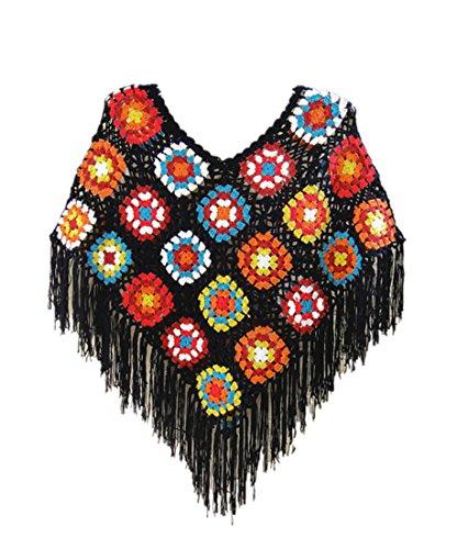Crochet Fringed Poncho Cape