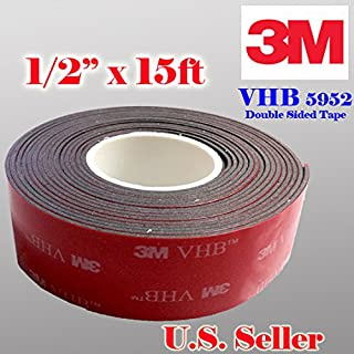 """Genuine 3M 1/2"""" (12mm) x 15 Ft VHB Double Sided Foam Adhesive Tape 5952 Grey Automotive Mounting Very High Bond Strong Industrial Grade (1/2"""" (w) x 15 ft)"""