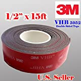 Genuine 3M 1/2' (12mm) x 15 Ft VHB Double Sided Foam Adhesive Tape 5952 Grey...