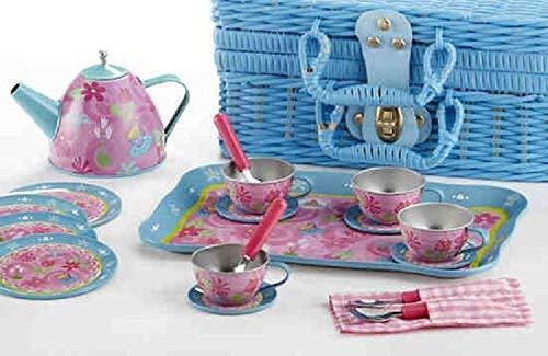 Delton Produkte tin 19 stück Tee-Set im Korb Tea Party servierware
