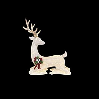 Home Accents Holiday 45 in. LED Lighted White PVC Sitting Deer