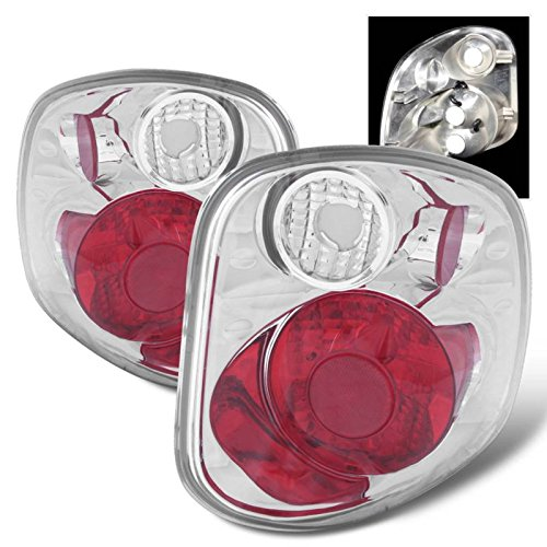 SPPC Chrome Euro Tail Lights Assembly Set for Ford F-Series Flare Side - (Pair) Driver Left and Passenger Right Side Replacement