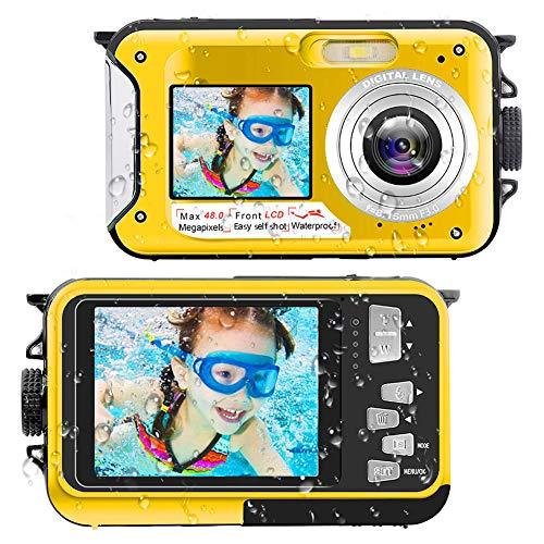 Waterproof Digital Camera Underwater Camera Full HD 2.7K 48 MP Video Recorder Selfie Dual Screens 16X Digital Zoom Flashlight Waterproof Camera for Snorkeling (Yellow)