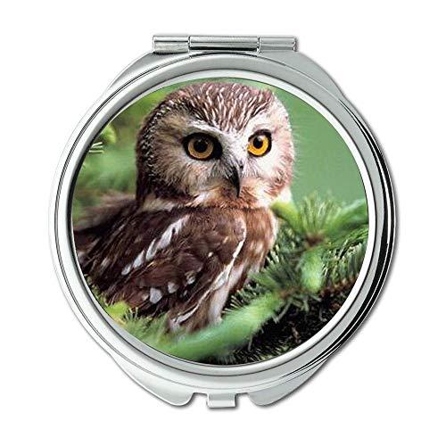 Yanteng Spiegel, Reise-Spiegel, Eule züchtet Eulen-Baby-Tapete hd, Taschenspiegel, tragbarer Spiegel