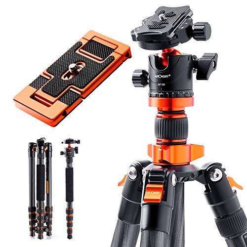 """K&F Concept SA255C1 - Trípode de cámara, 170cm Tripode Completo de Carbono para Camara Profesional 360°, Trípodes Camara Reflex con 1/4"""" Rótula de Bola"""