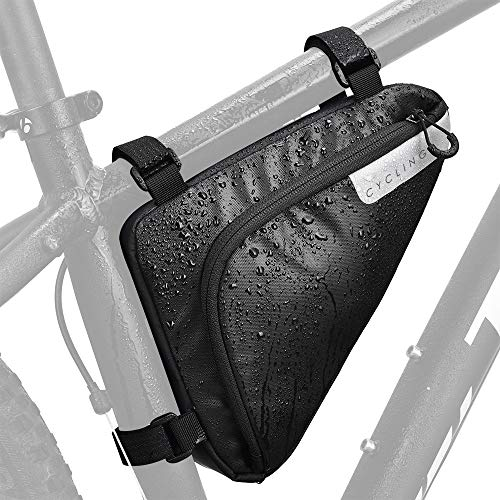 Lukovee Bike Frame Bag, Bicycle Triangle bag Front Tube Water Resistant Waterproof Cycling Pack Strap-On Saddle Pouch Storage Bag for mini bike pumps repair tools Road Mountain Bike(1.5L)