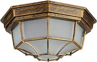 Vintage E27 Plafón de aluminio de la sombra de la lámpara de techo retro de diseño octogonal entrada iluminación dormitorio de techo luces balcón lámpara pasillo, bronce φ23 * 10.5 CM