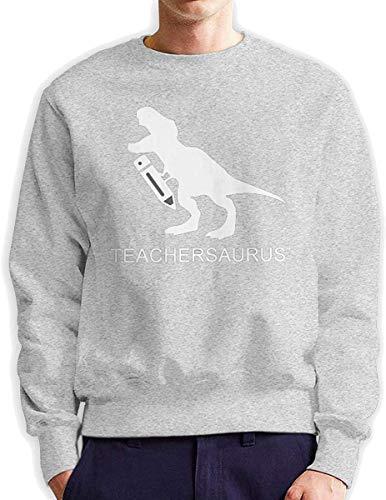 Men's Dinosaur Teacher Teachersaurus Fashionable Casual Style Crew Neck Cotton Sweatshirt Hoodie,Gray,XXX-Large