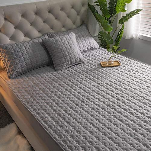 DSman Funda de Colchón con Tratamiento Antiácaros y Transpirable Sábana de algodón de una Sola pieza-200cmx200cm_Elegant Grey
