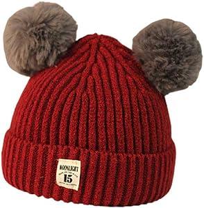 ZHONGXINZHONGXIN Gorro de punto de invierno para bebé Gorro de piel sintética Gorro de esquí con doble pompón Bobble (Red wine)