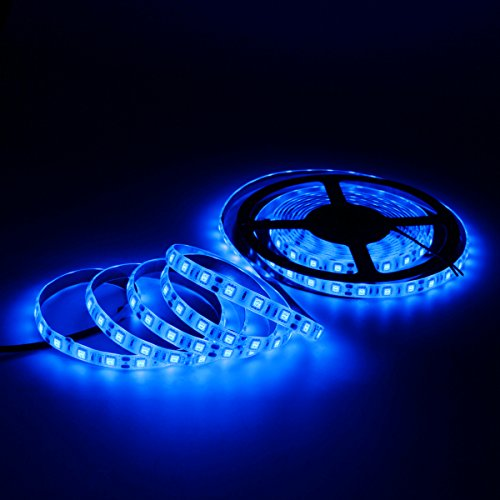 SUPERNIGHT (TM) 16.4FT 5M SMD 5050 Waterproof 300LEDs Blue LED Flash Strip Light,LED Flexible Ribbon Lighting Strip,12V 60W