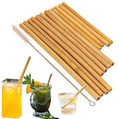 Organic Bamboo cannucce. Cannucce riutilizzabili Bamboos alternativa alla plastica cannucce per bambini. Set di 12 cannucce riutilizzabili in bambù con 3 misure