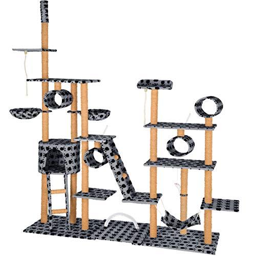 TecTake Katzen Kratzbaum Katzenbaum XXL | 2 Spielseile | 4 Röhren | 2 Treppen | 2 Liegemulden | Deckenhoch (Grau mit Tatzen| Nr. 402743)