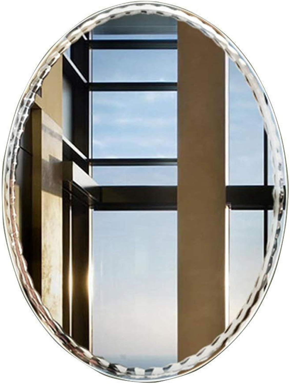 Mirror, Bathroom Mirror Frameless Oval Wall Mirror Dressing Table Sink Unique Edge (Size   45  60cm(5mm))