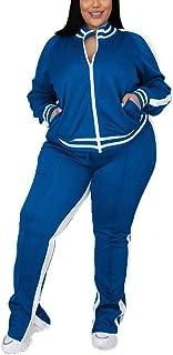 Sponsored Ad - Jogging Suits for Women Plus Size 2 Piece Striped Zipper Jacket Tracksuit Sweatpants Sweatsuits Sets