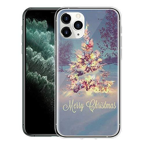 Yoedge Funda iPhone 11 Pro MAX, Cárcasa Silicona Transparente Navidad con Dibujos Antigolpes Nieve Ciervo de Diseño TPU Bumper Case Fundas para Movil iPhone 11 Pro MAX. (Árbol Rosa)