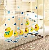 BIBITIME Baby Bathroom Glass Door Cute Yellow Ducks Wall Window Glass Door Art Stickers Bubble Wall Decals for Nursery Bedroom Kids Room Decor Decals DIY