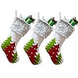 LEHONG Medias de Navidad 3pcs Calcetines Decoración Navideña, 46cm (18')