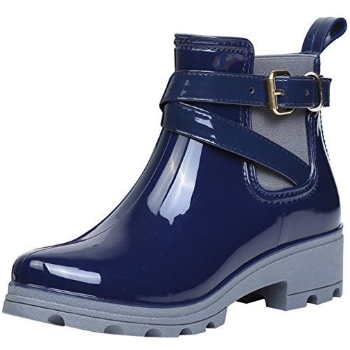 ukStore Damen Gummistiefel Regenstiefel Kurzschaft Stiefel Blockabsatz Chelsea Boots Rain Schuhe, Blau 40