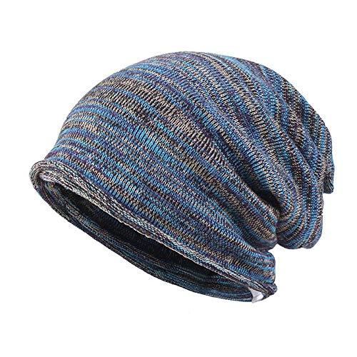 Frauen Pferdeschwanz Beanie Chaotisch Brötchen Stil Hut Stretchy Zopfmuster Wolle Slouchy Schädel Winter 57-60cm,Blau