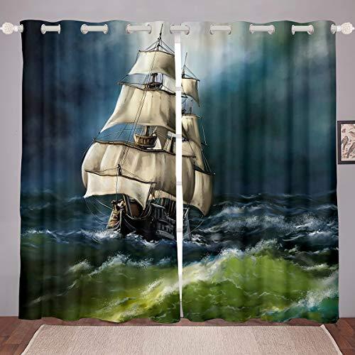 Cortinas náuticas de decoración para ventana con diseño de velero, diseño de barco de vela para niños, adultos, cortina para ventana de aventura, ultra suave, 66 x 72 cm