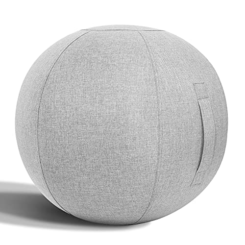 Nanspring Balance Training Exercise Ball Pilates Yoga Sitting Ball Chair for Office Home Stability Fitness Ergonomic Posture Activating Balance Ball Chair with Handle & Cover, Light Gray