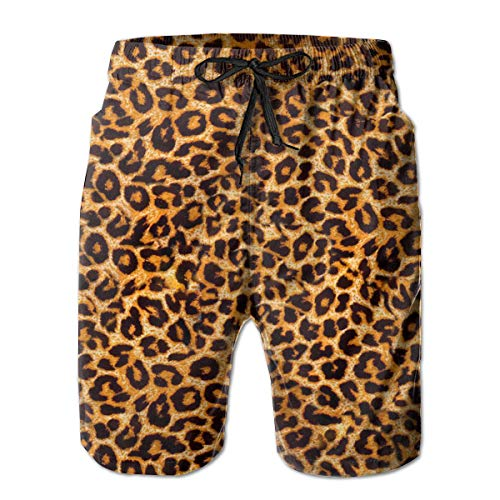 Men's Swim Trunks Animal Leopard Print Quick Dry Bathing Suits Durable Beach Shorts Swimwear with Cargo Pockets