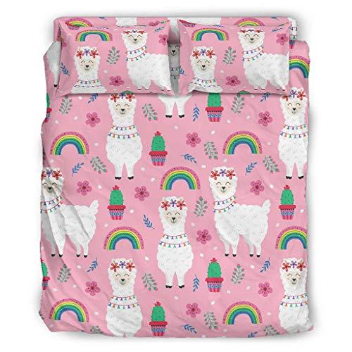 Greenieey Juego de fundas nórdicas de oveja rosa suave 4 piezas juego de funda de edredón con cierre de cremallera blanco 175X218cm
