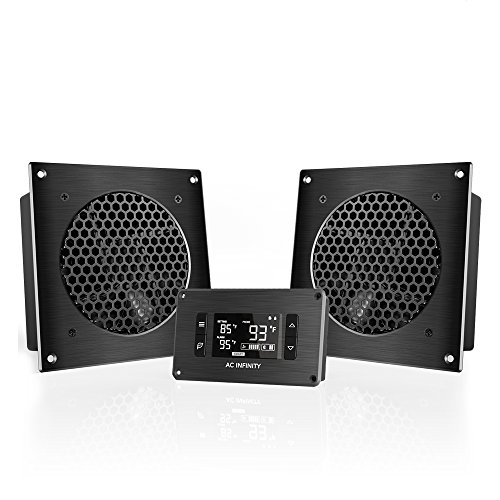"AC Infinity AIRPLATE T8, Quiet Cooling Dual-Fan System 6"" with Thermostat Control, for Home Theater AV Cabinets"