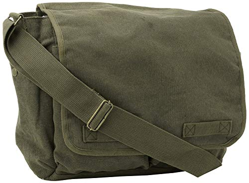 ARMYU Olive Green Original Heavyweight Classic Military Messenger Bag + Pin