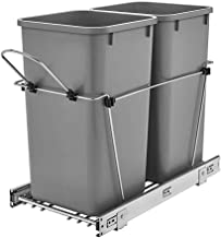 Rev-A-Shelf 27 Quart Pull Out Sliding Double Waste Trash Container Bin, Gray
