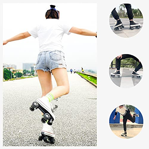 Roller Skates for Women Men Outdoor Size 5.5-11 Double Row Canvas Roller Skates Four Wheel Flash Wheel Breathable Soft Comfortable Durable Safe Purple,Blue,Yellow,Red,White