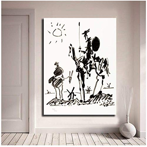 wzgsffs Don Quijote de Pablo Picasso Minimalista Wall Art Canvas Poster Canvas Painting Picture For Bedroom Home Decor -50x70cm Sin Marco