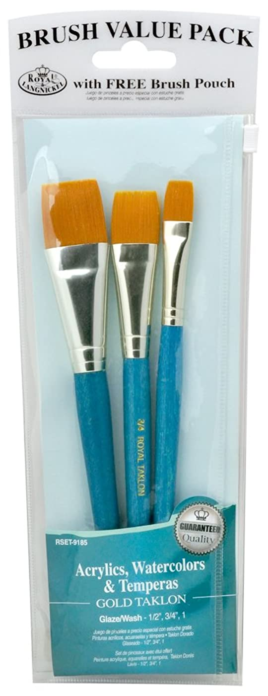 Royal & Langnickel Royal Zip N' Close Gold Taklon Glaze Wash 3-Piece Brush Set