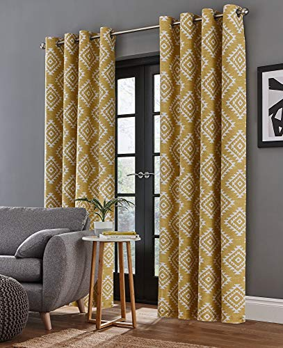 Catherine Lansfield Azteca Cortinas 66x 90, poliéster, Ocre, Curtains - 66x90In