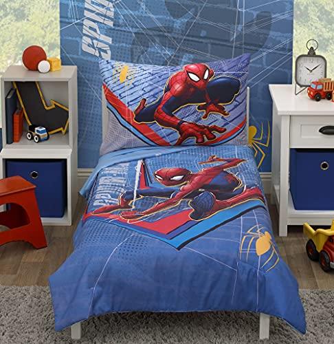 Marvel Spiderman - Juego de ropa de cama infantil de 4 piezas