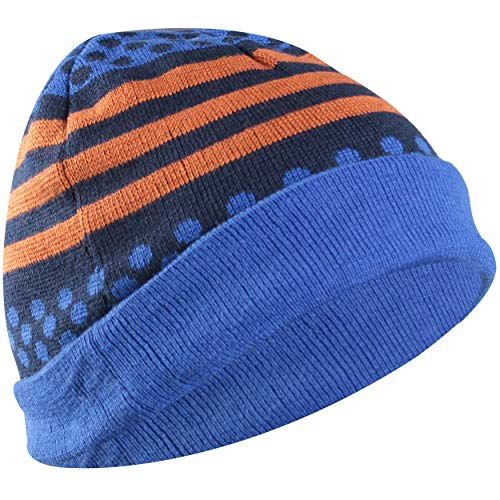 RANDY SUN Daily Slouchy Beanie Hat Cap, Womens/Mens Knitted Waterproof and Windproof Breathable Thermal Hat(Blue Dots Large)
