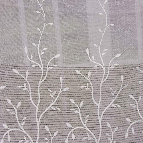 SCHÖNER LEBEN. Gardinenstoff Dekostoff Leinenoptik grob Streifen Ranke halbtransparent weiß grau 2,80m Höhe