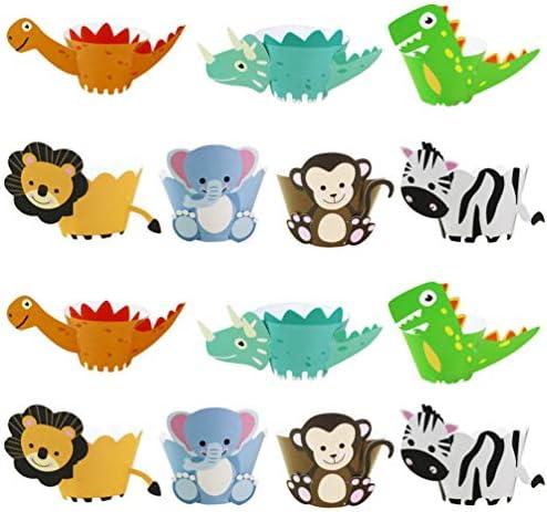 TOYANDONA 24Pieces Animal Cupcake Wrappers Cupcake Decorations Including Monkey Elephant Lion product image