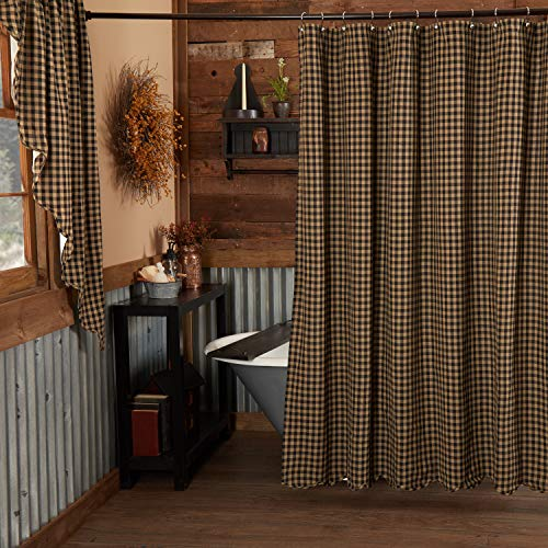 Pine Valley Quilts VHC Brands Black Check Scalloped Shower Curtain 72x72 Country Rustic Design, Black and Tan