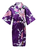 Feeshow Kimono für Kinder, Mädchen, Pfauenmuster, Satin, Kimono, Bademantel, Nachthemd,...