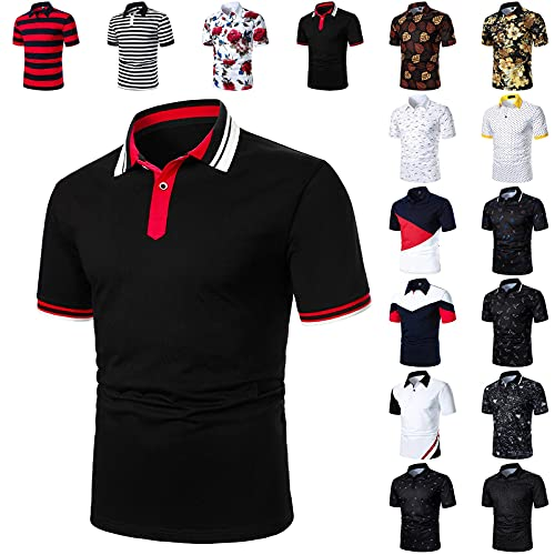 BIBOKAOKE Herren Poloshirt Revers Poloshirts Vielen Bedrucktes Polo T-Shirt Streifen Patchwork Hemden Sommer Basic Slim Fit Polohemd Outdoor Sportshirt Casual Business Arbeit Büro T-Shirts