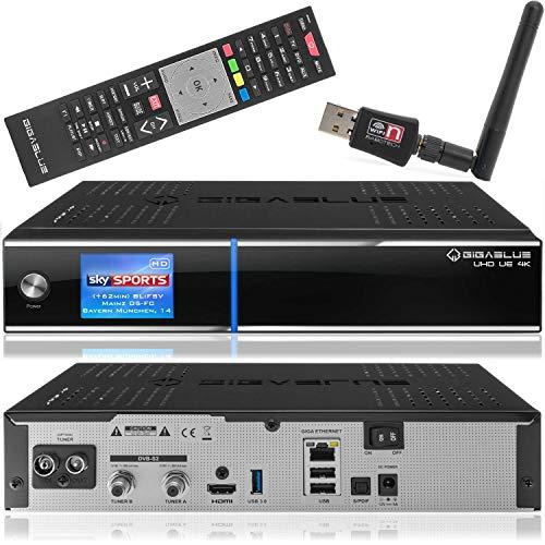 Gigablue UHD UE 4k Receiver mit 2 x DVB-S2 FBC und 1 x DVB-C/ T2 (H.265) Tuner SAT-Receiver inkl. Babotech® WLAN Stick mit 2TB Festplatte