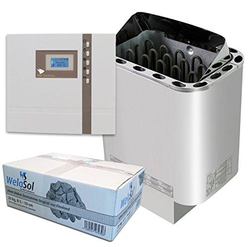 Well Solutions Saunaset | Saunaofen Edelstahl Next 4,5 kW | Externer Sauna Steuerung Premium D1 | Sauna Technik Set aus dem Hause Well Solutions