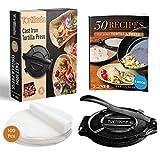 Tortillada - Prensa de Hierro Fundido para Tortillas + E-Book con 50 Recetas + 100 x Papel de Pergamino (20cm)