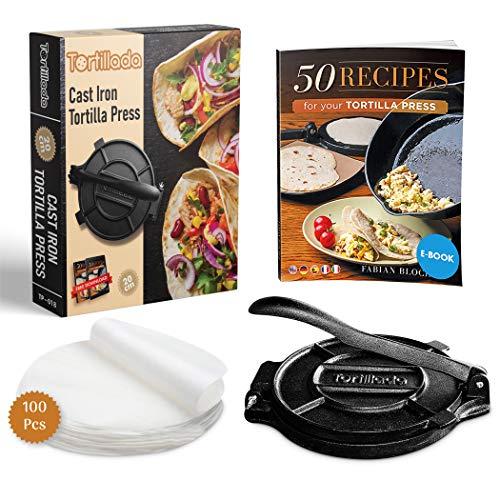 Tortillada – Presse à Tortillas de Première Qualité en Fonte + E-Book de Recettes + 100 x Papier Parchemin (20 cm)