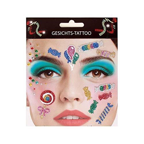 Lively Moments Gesichtsaufkleber / Schminke / Klebetattoos / Gesichts-Tattoo Clown / Kamelle mit Bonbons